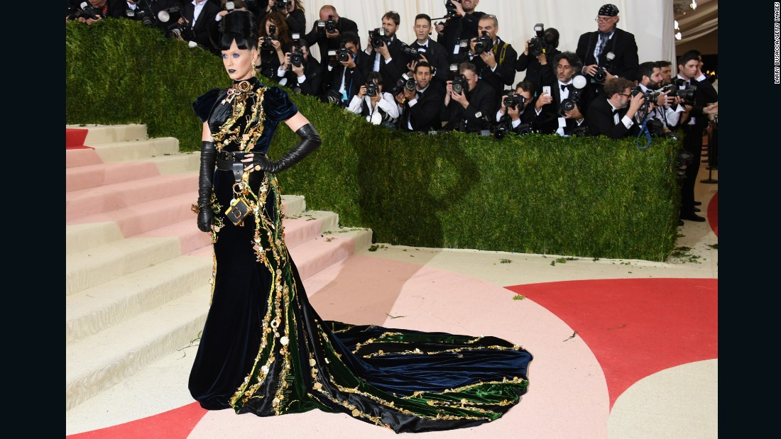 Singer Katy Perry is pictured wearing a heavily embellished Prada gown.