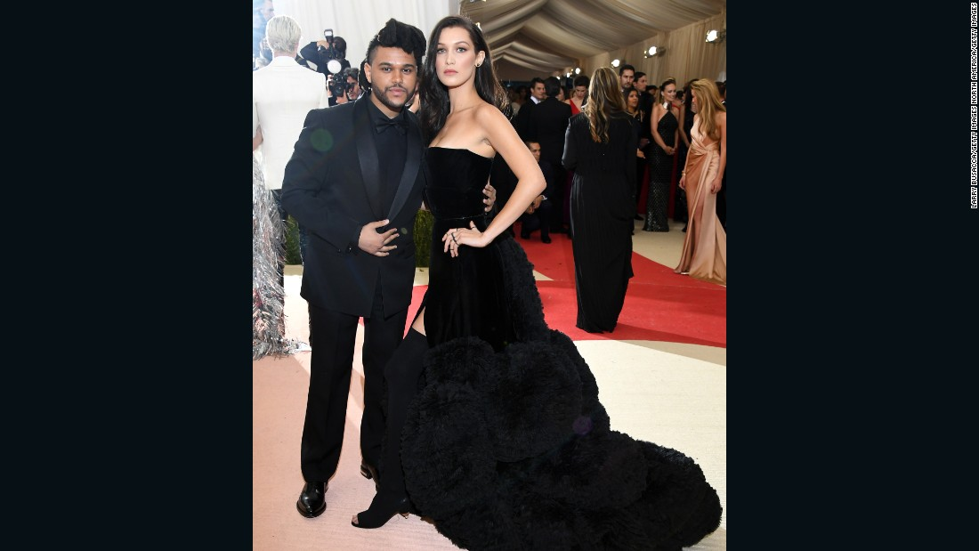 Model Bella Hadid attended the Met Gala with The Weeknd, and is pictured wearing a Givenchy dress.