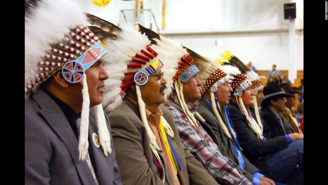 "Mourners in full headdress attend the funeral of <a href=""http://www.nytimes.com/2016/04/05/us/joseph-medicine-crow-tribal-war-chief-and-historian-dies-at-102.html"" target=""_blank"">Joe Medicine Crow,</a> a historian, U.S. veteran and the Crow Tribe's last surviving war chief, on Wednesday, April 6. He was 102 years old."