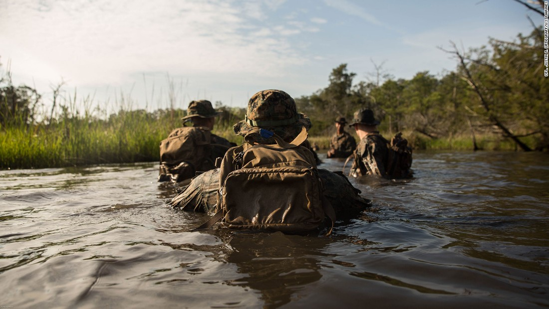 U.S. Marines take part in a training exercise in Camp Lejeune, North Carolina, on Wednesday, April 20.