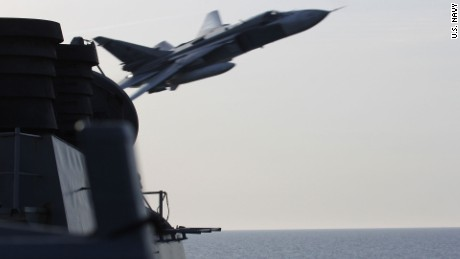 Unarmed Russian fighter jets made two extremely close overflights in April of the USS Donald Cook, sailing in the Baltic Sea.