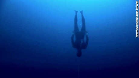 William Trubridge dives without diving equipment in the Bahamas in January 2012.