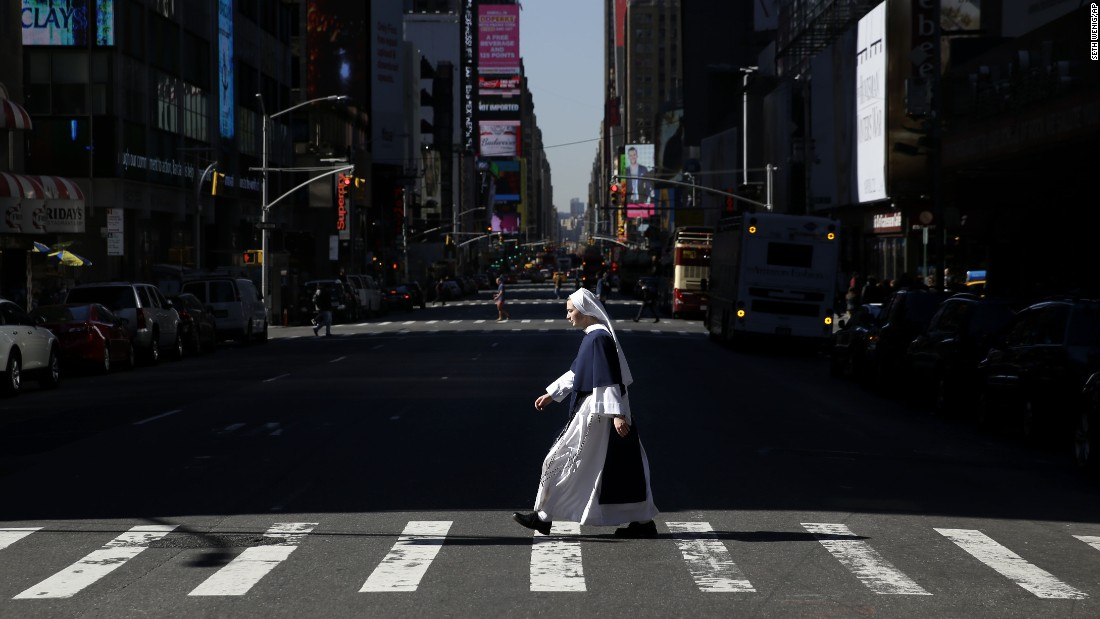 The neo-Gothic Saint Patrick's Cathedral is New York's most celebrated Roman Catholic church, but this nun spent part of a recent sunny day in Times Square.