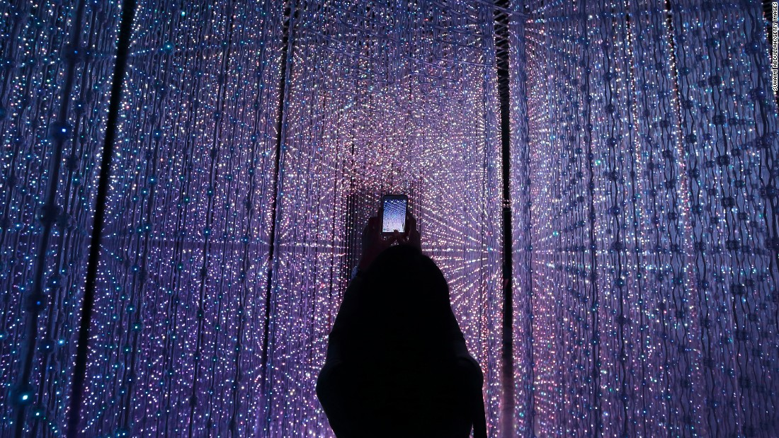 "Future World is the new permanent exhibition at Marina Bay Sands. The interactive digital installation pictured was created by teamLab and is titled ""Crystal Universe."""