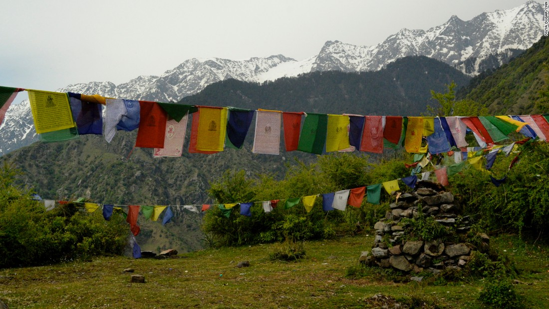 Prayer flags are a constant sight in the mountains around Hotel Eagles Nest, located in India's Himachal Pradesh state.