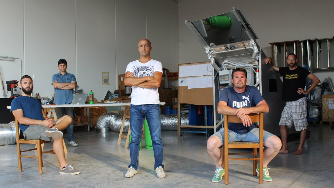 "The team behind Watly hopes the machine will bring much needed aid in the development of these areas.""This is an infrastructure solution for people without access to three fundamental pillars of civilization,"" says Watly founder Marco Attisani (center). ""We are (taking) people to the heart of the 21st century."""