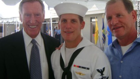 Charlie Keating IV, (center) at his Navy SEAL graduation in 2008, with his grandfather, Charles Keating Jr. (left), and his father, Charles Keating III.