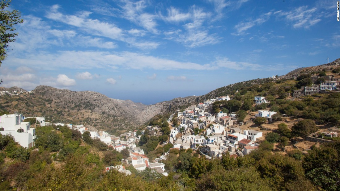 Villages like Koronos stand out on terrain that's greener than the rest of the Cyclades.