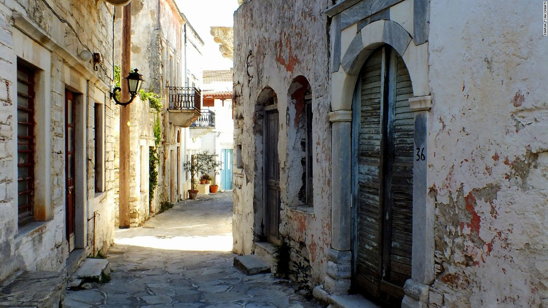 Narrow streets in villages like Chalki hold their own clues to island life.