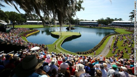 PONTE VEDRA BEACH, FL - MAY 08:  A general view of the 17th green as Phil Mickelson, Sergio Garcia of Spain and K.J. Choi of South Korea putt during round two of THE PLAYERS Championship at the TPC Sawgrass Stadium course on May 8, 2015 in Ponte Vedra Beach, Florida.  (Photo by Richard Heathcote/Getty Images)