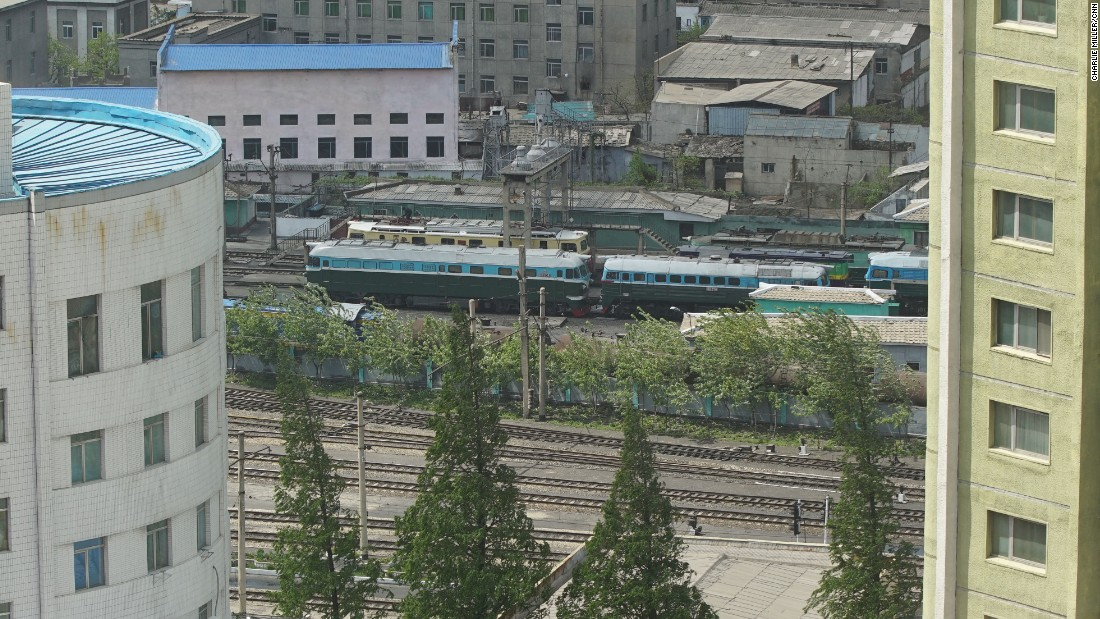 A train can be seen from the window of the Koryo Hotel in Pyonyang.