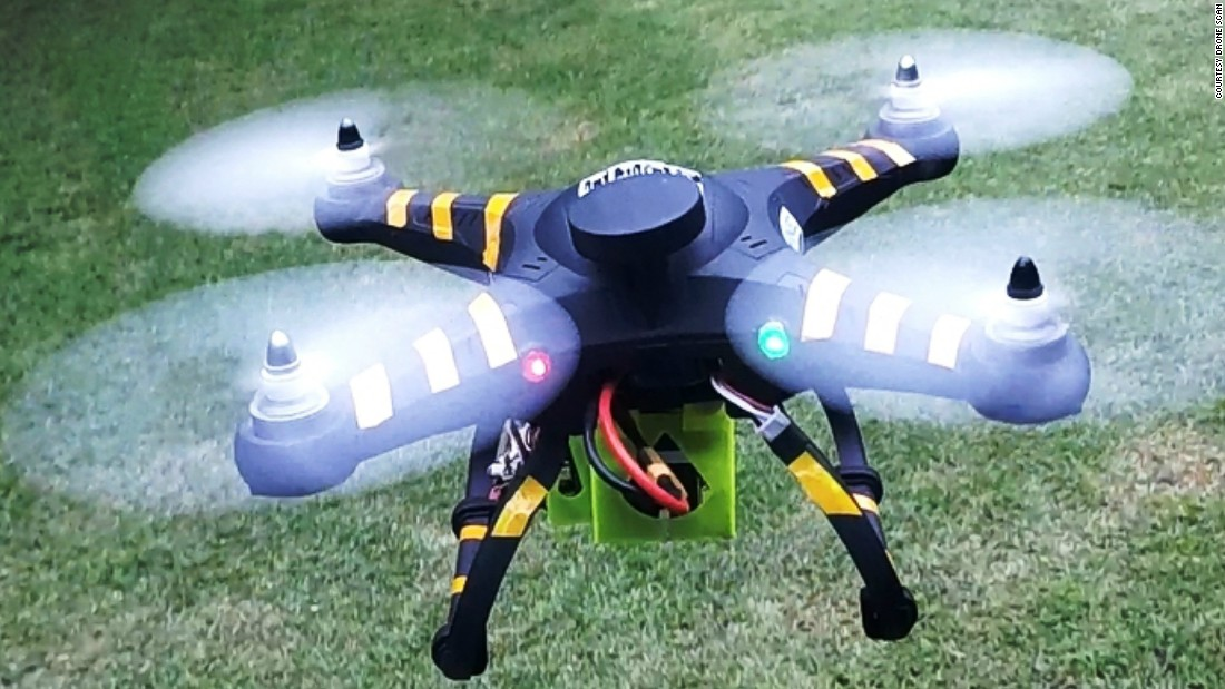 The idea came when using a homemade drone to map fishing grounds. Since setting up the company in 2013, the founders have gone from using a smaller drone, pictured, to a larger and more advanced model.