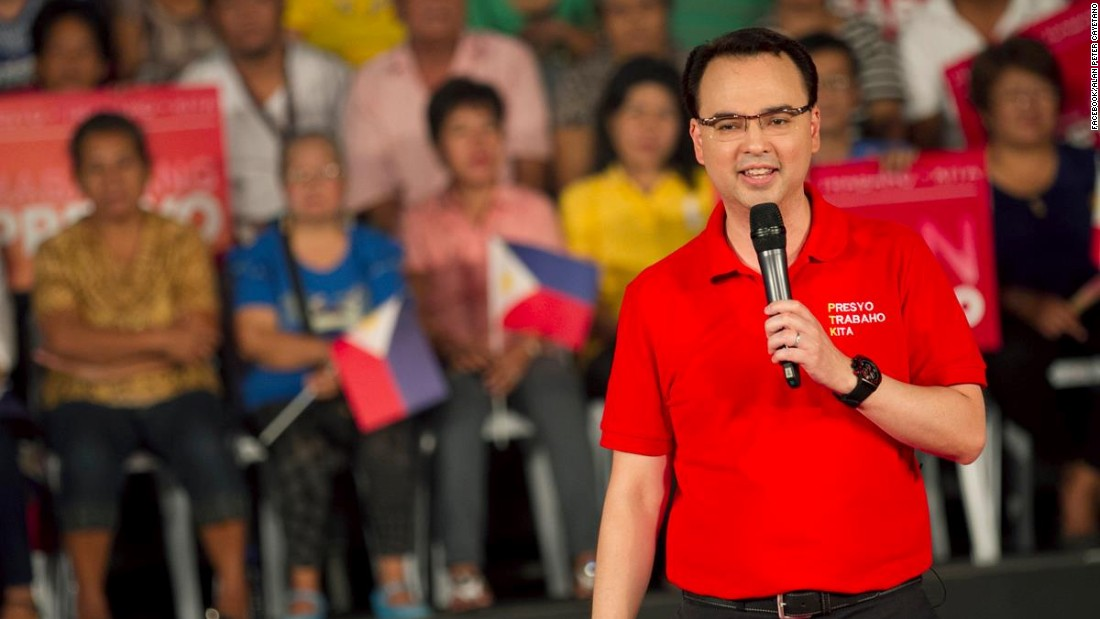 Alan Peter Cayetano comes from a well-known political family and is the third Cayetano to join Congress. He was good friends with Bongbong Marcos but the latter has mentioned that since the campaign started, the two have not talked.