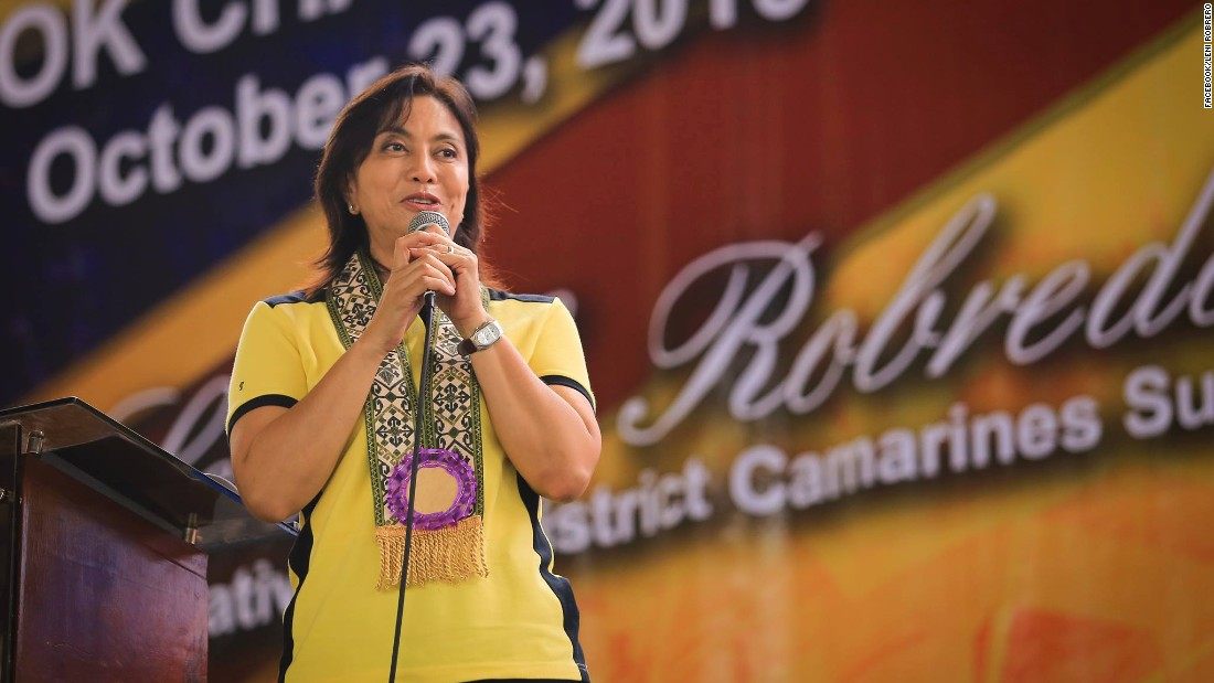 The only woman in the running, Leni Robredo, is a lawyer, social activist, and widow of late Interior Secretary Jesse Robredo who died in a 2012 plane crash. She's known for her down-to-earth approach -- riding public buses unlike many Filipino Congress members who drive luxury cars.
