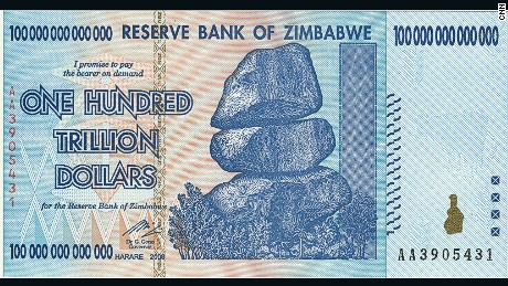 A one-trillion dollar zimbabwean bill