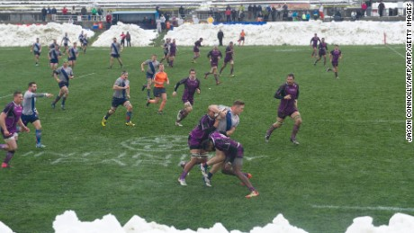 Denver and Ohio braved the weather during their opening weekend clash.