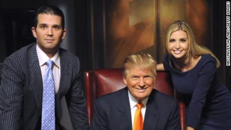Donald Trump with Donald Trump Jr. and Ivanka Trump on the set of The Celebrity Apprentice in 2009.