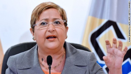 The president of the Venezuelan National Electoral Council (CNE), Tibisay Lucena, speaks during press conference in Caracas on May 4, 2016. Venezuela on Wednesday started verifying nearly two million signatures of voters petitioning for a referendum on getting rid of President Nicolas Maduro, as he launched fresh maneuvers against his opponents. / AFP / JUAN BARRETO        (Photo credit should read JUAN BARRETO/AFP/Getty Images)
