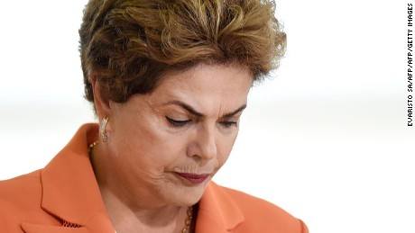 Brazilian President Dilma Rousseff attends the launching of the Agricultural and Livestock Plan for 2016/2017, at Planalto Palace in Brasilia, on May 4, 2016. Rousseff is fighting impeachment on allegations that she illegally borrowed money to boost public spending during her 2014 re-election campaign. / AFP / EVARISTO SA        (Photo credit should read EVARISTO SA/AFP/Getty Images)