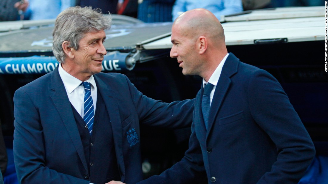 Manuel Pellegrini, once of Real Madrid but now of Manchester City, greeted his counterpart Zinedine Zidane before kick off. Pellegrini will leave City at the end of the season with Pep Guardiola replacing him.<br /><br />