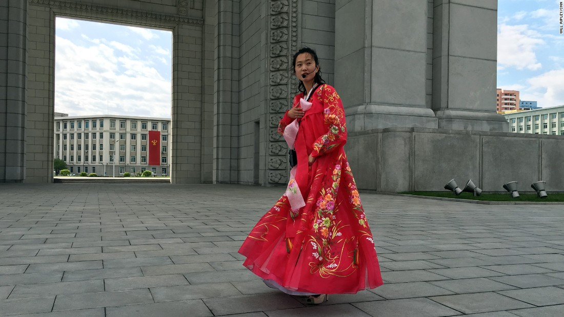 Hyon Un Mi, 27, works as a guide at Pyongyang's Arch of Triumph. She says she and her colleagues have worked for 70 days straight, acting on orders of Supreme Leader Kim Jong Un. To prepare Pyongyang for the upcoming congress, she was part of a work crew sent to refurbish Kim Il Sung Stadium.