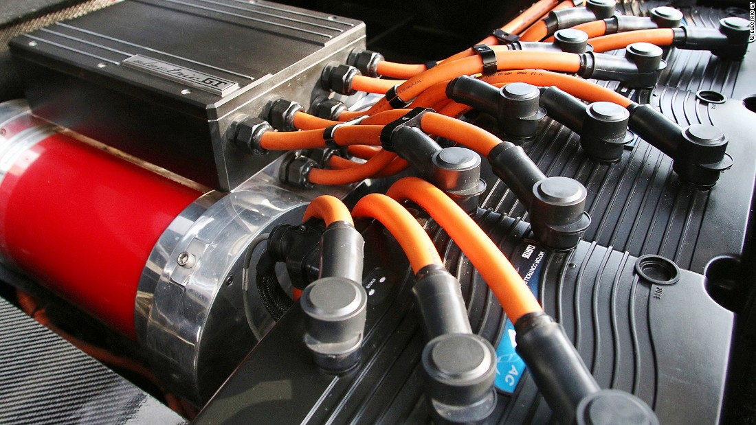 The motors are powered by three batteries -- one at the front of the car and two at the back where the gas tanks used to sit.