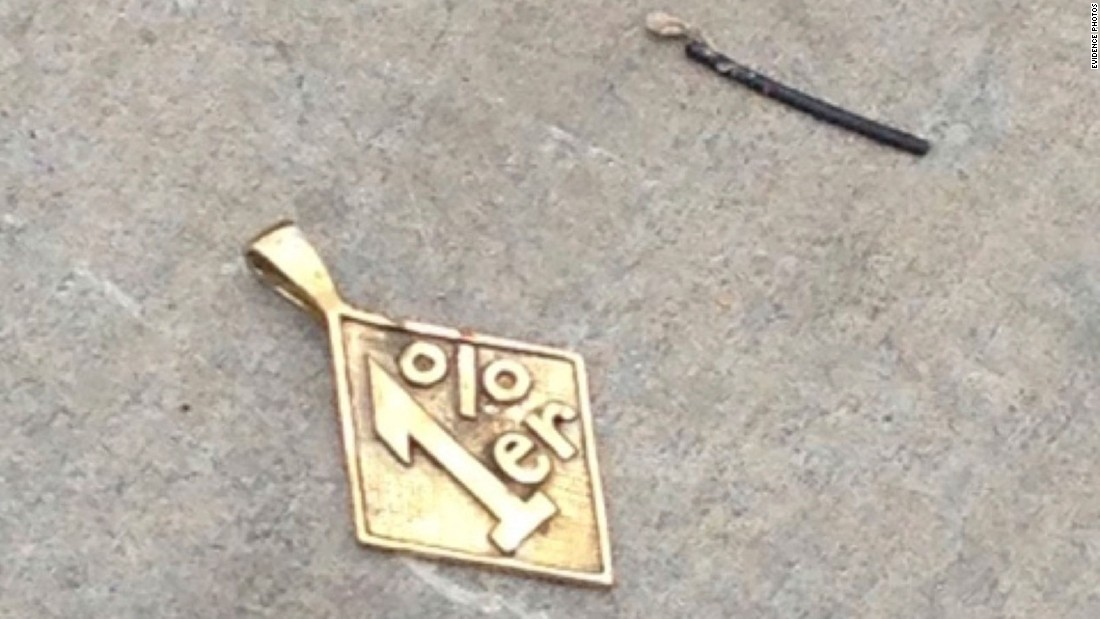 Jewelry lies on the asphalt in the Twin Peaks parking lot. The label is derived from a quote that may be apocryphal but is part of biker lore that dates to the 1960s: Someone supposedly said that 99% of bikers are law-abiding citizens, leaving the mayhem to the other 1%.