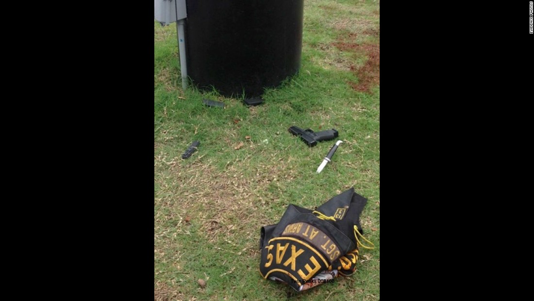 A Cossacks jacket, along with knives and a gun, litter the grass outside Twin Peaks after the melee. There were 154 bikers indicted by a Waco grand jury, and they could face life in prison on charges of engaging in organized criminal activity.