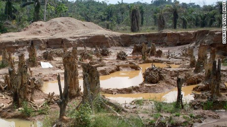 A protected forest and river in Ghana, which is now strip mined for gold.