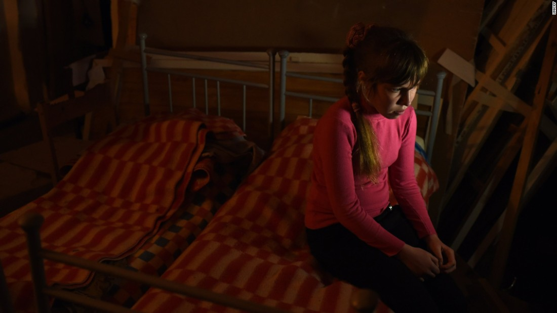 Liana, 11, the daughter of the school janitor at school #2 in Myronivskyi, near to the front line in eastern Ukraine.
