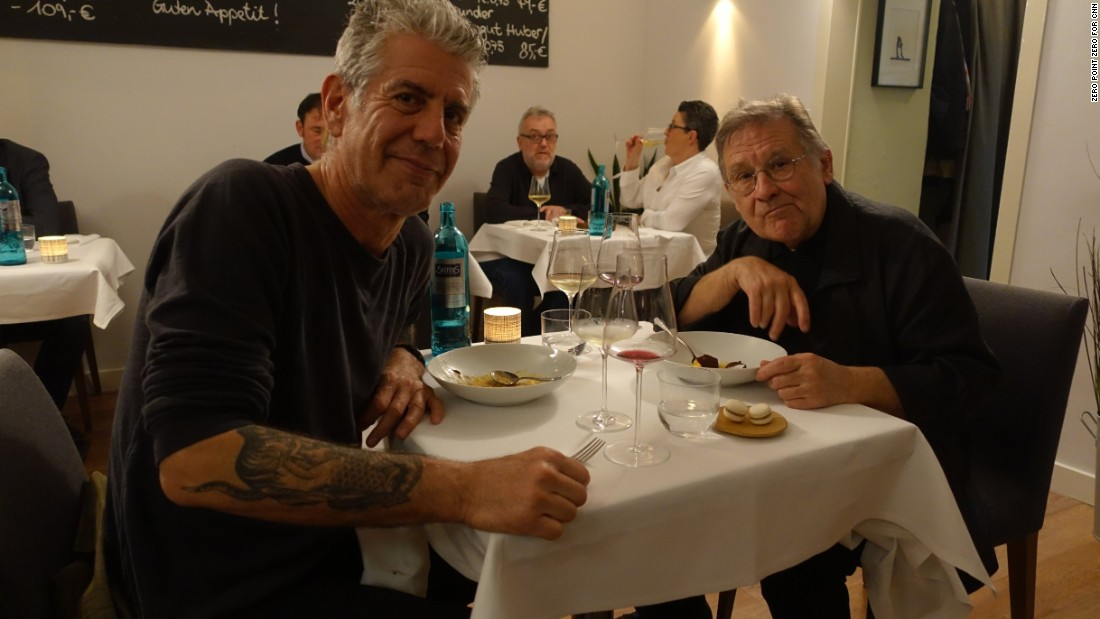 Bourdain and musician Irmin Schmidt, a founding member of the band CAN, finish a five-course tasting menu at Ox & Klee.