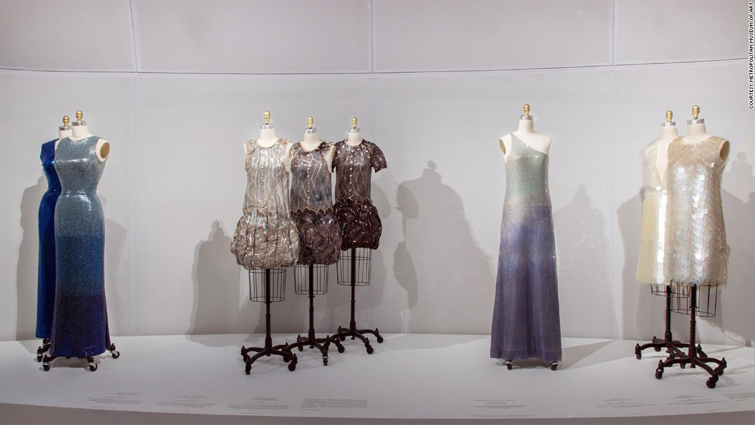 Upper Level Gallery View: Embroidery at Manus x Machina: Fashion in an Age of Technology.