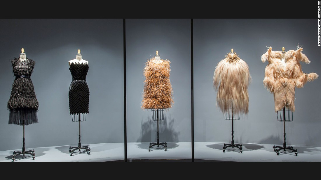 Upper Level Gallery View: Featherwork at Manus x Machina: Fashion in an Age of Technology.