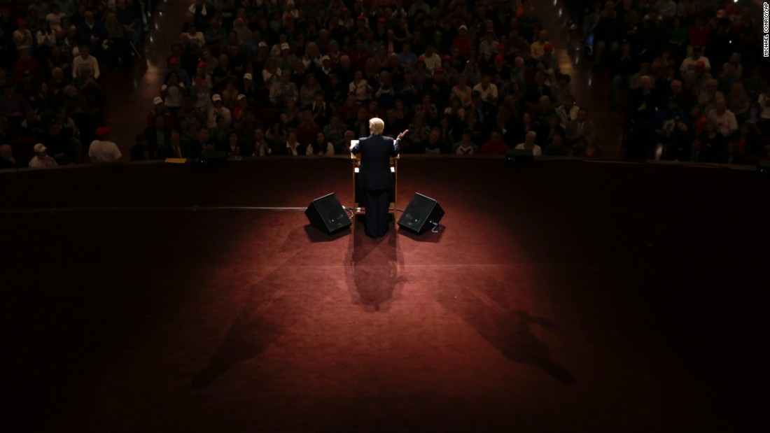 "Republican presidential candidate Donald Trump speaks during a rally in Carmel, Indiana, on Monday, May 2. He <a href=""http://www.cnn.com/2016/05/03/politics/trump-chances-of-nomination-after-indiana-primary/"" target=""_blank"">won the state's primary</a> the next day, and his remaining challengers -- U.S. Sen. Ted Cruz and Ohio Gov. John Kasich -- have since bowed out of the race."