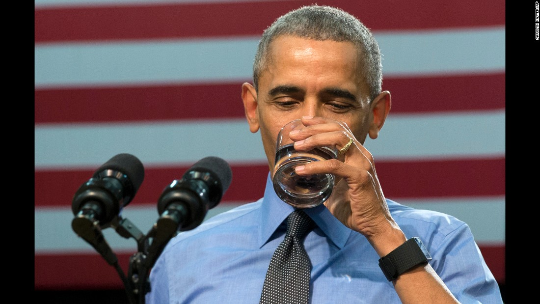 "U.S. President Barack Obama <a href=""http://www.cnn.com/2016/05/04/politics/obama-flint-michigan-visit/"" target=""_blank"">drinks filtered water</a> in front of cameras as he speaks about <a href=""http://www.cnn.com/specials/us/flint-water-crisis"" target=""_blank"">the water crisis in Flint, Michigan,</a> on Wednesday, May 4. He insisted that residents should feel safe doing the same at this point. ""If you're using a filter, if you're installing it, then Flint water at this point is drinkable,"" he said, noting that didn't negate the need to replace some of the city's old pipes. Cost-cutting measures in Flint led to tainted drinking water that contained lead and other toxins."