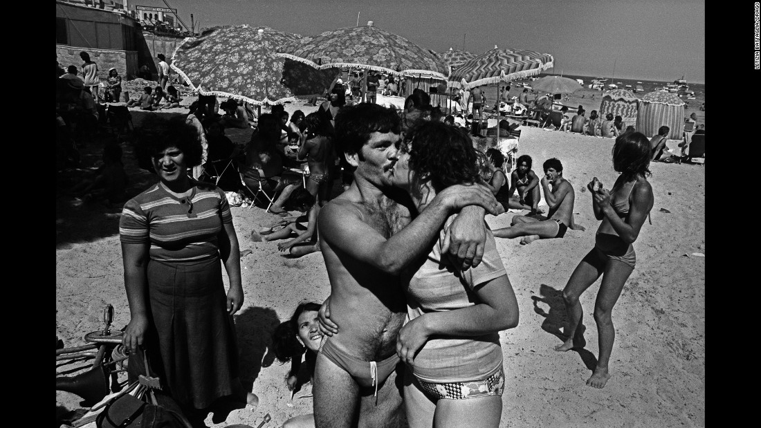 "Battaglia's new book ""Anthology"" also includes shots of regular Sicilians going about their day, such as this beach photo from 1982. ""My archives are full of blood,"" she said. ""But I have also seen such immense beauty in the regular, complicated daily life in Sicily."""