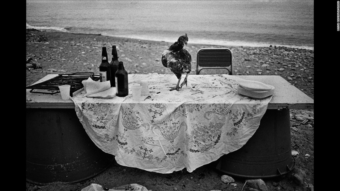 "The picture from 1986 is one of Battaglia's favorites. ""I went to the seaside to shoot something, and I saw this very strange table. Someone had organized a party on the seaside and I don't know why, but all that was left was this hen. It's poetic. I am looking for poetry in life. That's all I need."""
