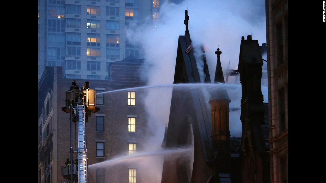 Firefighters in New York battle a three-alarm fire at the historic Serbian Orthodox Cathedral of St. Sava on Sunday, May 1. Authorities said no injuries were reported.