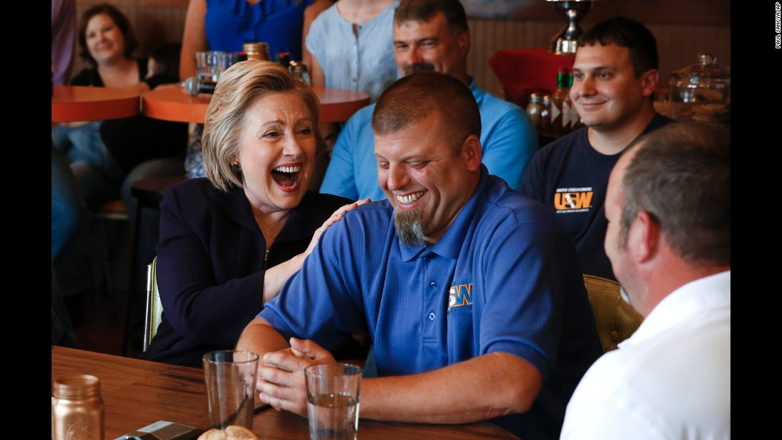 Democratic presidential candidate Hillary Clinton talks to steelworkers in Ashland, Kentucky, on Monday, May 2.