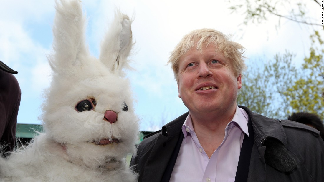 Johnson attends the protest of a third runway at London's Heathrow Airport on April 27, 2013.
