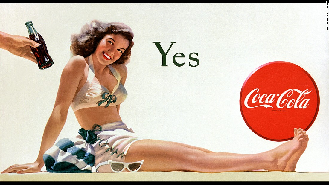 "<strong>1946:</strong> The Coca-Cola billboard ""Yes Girl"" makes its debut. It was painted by Haddon Sundblom, who also created the iconic Coca-Cola Santa Claus."