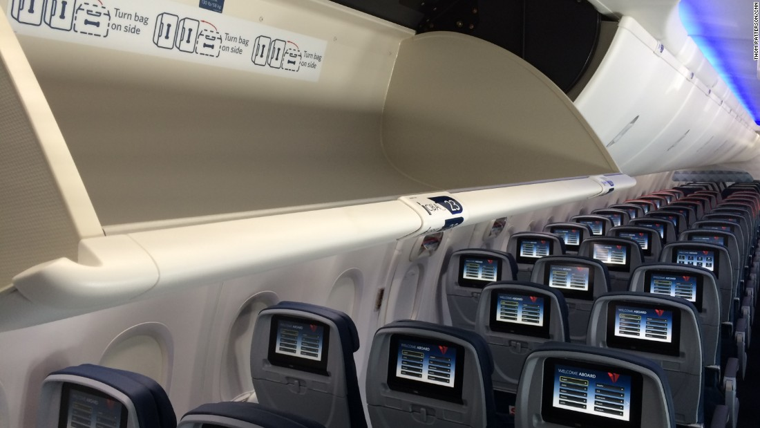 Delta's new cabins inside its Boeing 737-900ERs will be outfitted with full spectrum LED ambient lighting, seat-back in-flight entertainment systems and large overhead bins rated to 130 pounds.