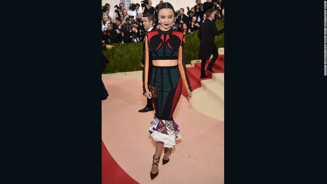 Miranda Kerr wears Louis Vuitton at the 2016 Met Gala.