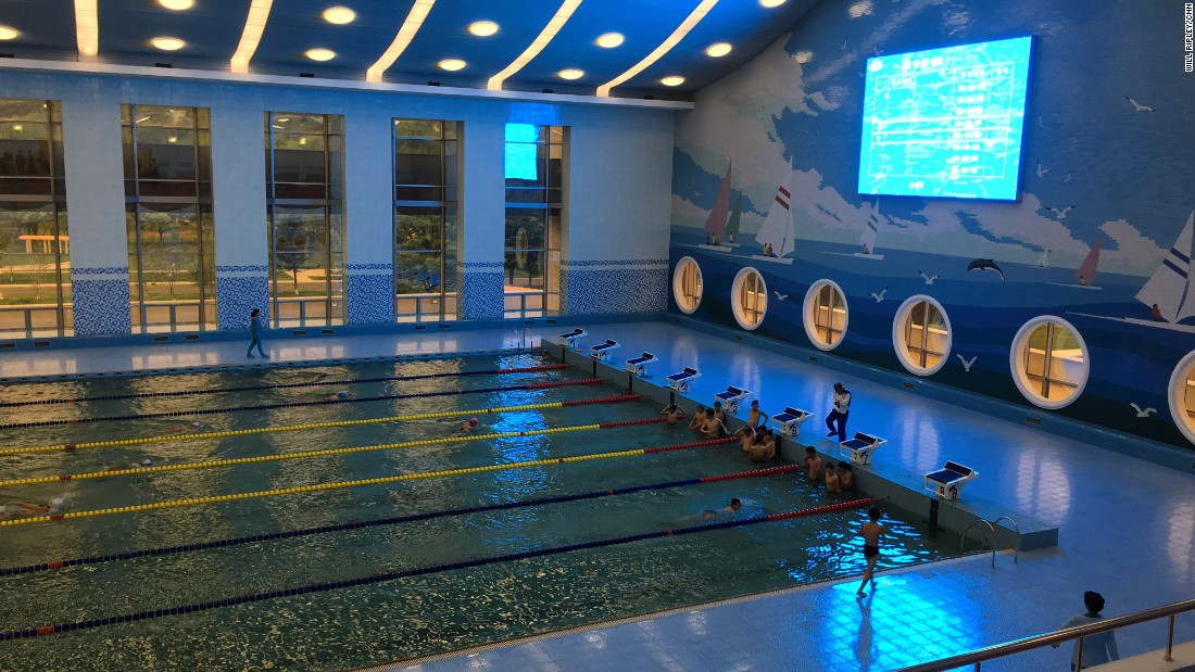 "An Olympic-sized swimming pool at a ""children's palace"" after school center in Pyongyang."