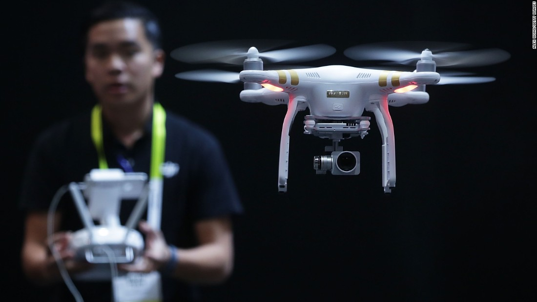 The drone they use today is called DJI Matrice and is designed for commercial purposes, and allows for users to attach other devices to the drone and link it up to a central system, hence its industrial look in comparison to consumer drones, such as the one on this picture.