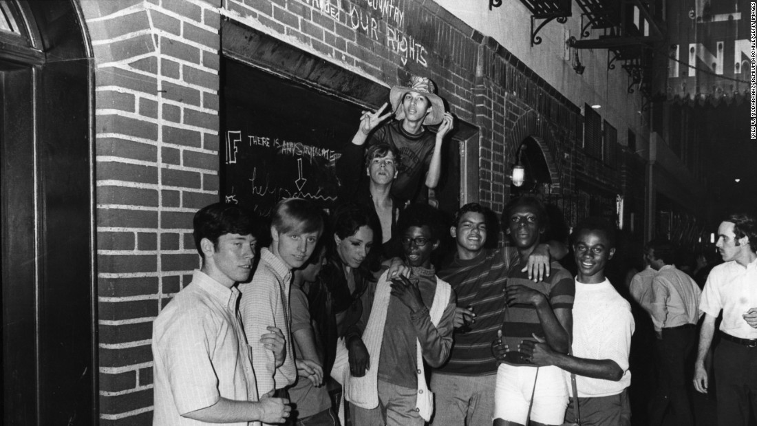 Protesters gathered in the streets outside the Stonewall Inn following the riots on June 28.
