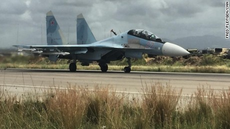 A Russian SU-35 takes off from the Hmeimim base in northern Syria, May 4, 2016.