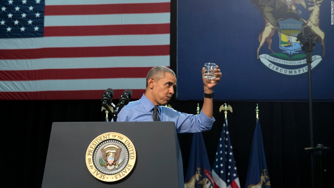 "President Barack Obama holds a glass of filtered water he drank <a href=""http://www.cnn.com/2016/05/04/politics/obama-flint-michigan-visit/"" target=""_blank"">after speaking about the water crisis</a> in Flint, Michigan, on Wednesday, May 4. He insisted that residents should feel safe doing the same at this point. ""If you're using a filter, if you're installing it, then Flint water at this point is drinkable,"" he said, noting that didn't negate the need to replace some of the city's old pipes. Cost-cutting measures in Flint <a href=""http://www.cnn.com/specials/us/flint-water-crisis"" target=""_blank"">led to tainted drinking water</a> that contained lead and other toxins."