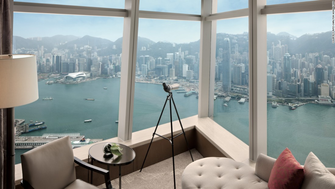 Which Hong Kong hotels give you the most view for the buck? We started a list of high achievers with the Ritz-Carlton, Hong Kong, the highest hotel in the world. It occupies floors 102 to 118 of the International Commerce Center in Kowloon.