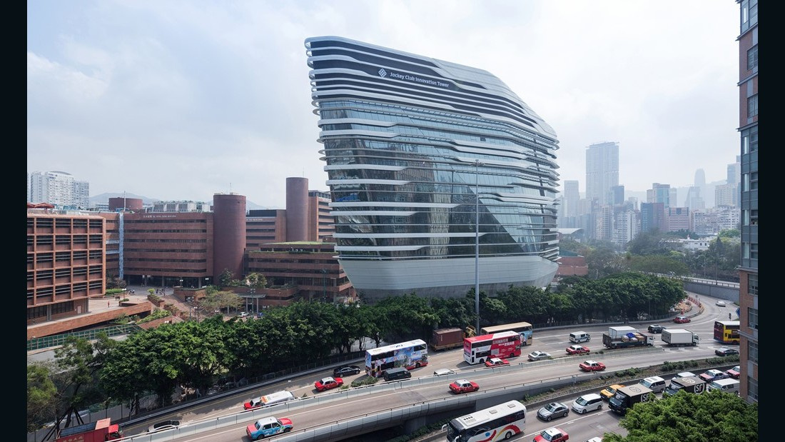 Jockey Club Innovation Tower. Zaha Hadid Architects. 2014, Hung Hom. (Photo: Iwan Baan)